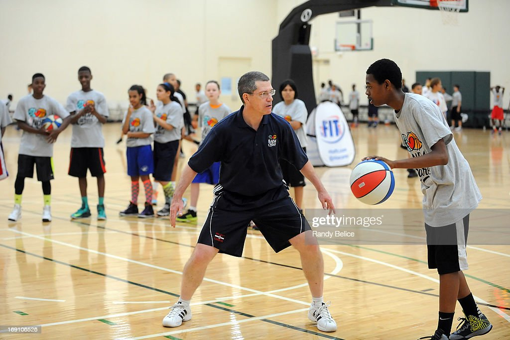 San Antonio Spurs Assistant Coach Scott Layden demonstrates a defensive stance during a NBA Cares Basketball Clinic as part of the 2013 NBA Draft Combine on May 18, 2013 at Quest Multiplex in Chicago, Illinois.