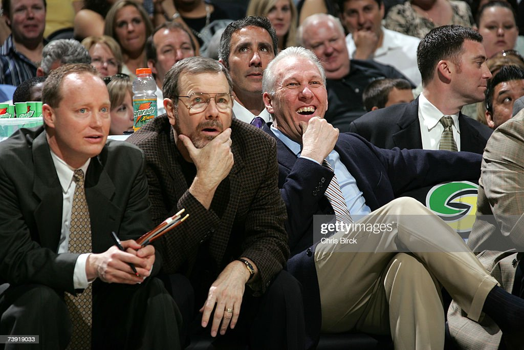 San Antonio Spurs assistant coaches (L-R) Mike Budenholzer, P.J. Carlesimo and head coach Gregg Popovich get ready to face the Denver Nuggets on April 18, 2007 at the AT&T Center in San Antonio, Texas.