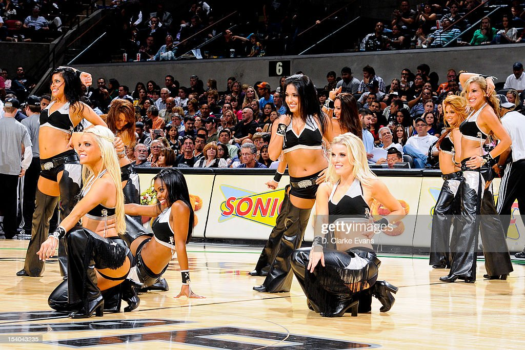 San Antonio Spurs dancers perform during a pre-season game against the Denver Nuggets on October 12, 2012 at the AT&T Center in San Antonio, Texas.