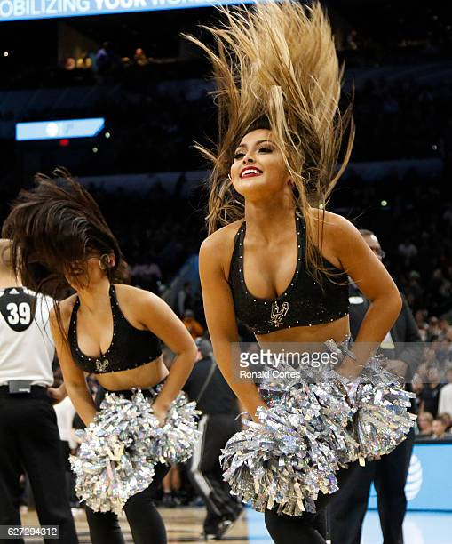 San Antonio Spurs dancers perform during timeout during game against the Washington Wizards at ATT Center on December 2 2016 in San Antonio Texas...