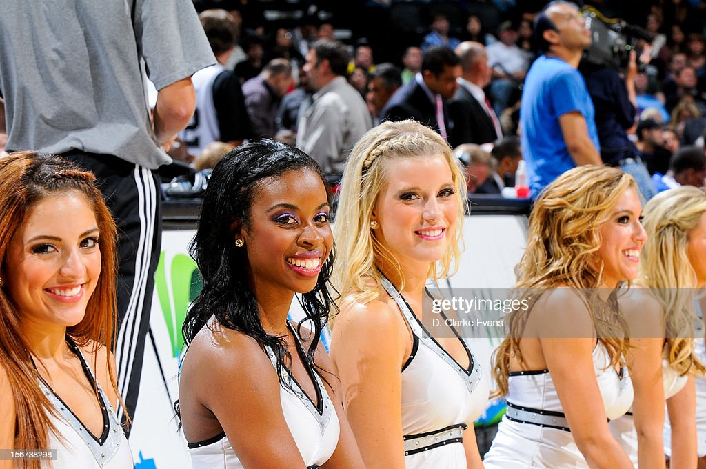 San Antonio Spurs dancers pose for a picture during a game against the Los Angeles Clippers on November 19, 2012 at the AT&T Center in San Antonio, Texas.