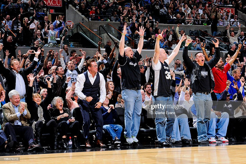 San Antonio Spurs fans cheer their team on against the New York Knicks on November 15, 2012 at the AT&T Center in San Antonio, Texas.