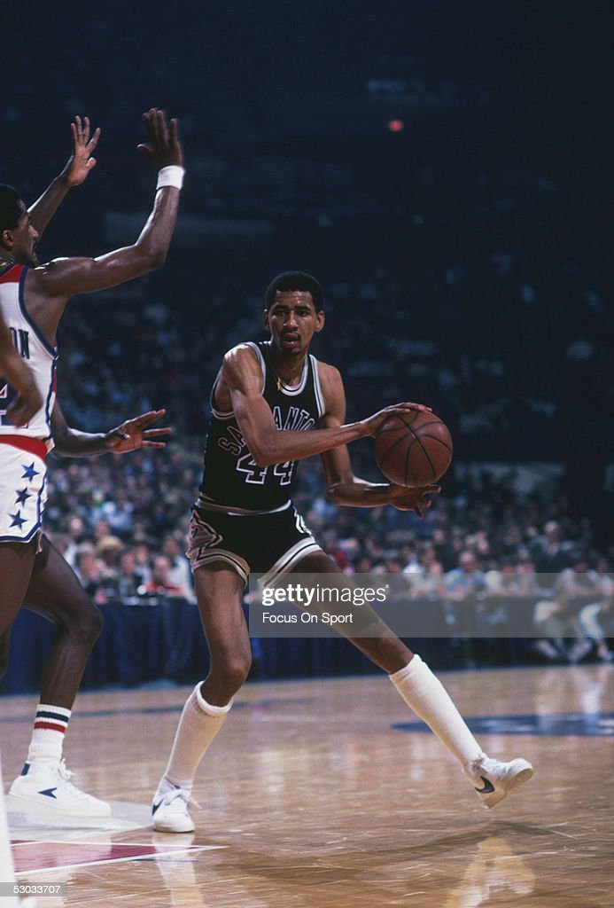 San Antonio Spurs' George Gervin looks to pass during a game against the Washington Bullets at Capital Centre circa 1978 in Washington DC NOTE TO...
