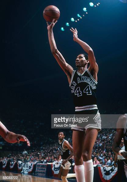 San Antonio Spurs' George Gervin makes a onehanded jumpshot against the Washington Bullets at Capital Centre circa 1978 in Washington DC NOTE TO USER...