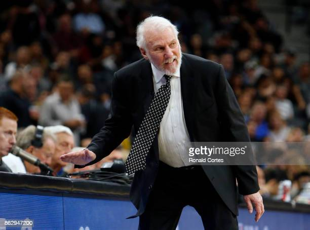 San Antonio Spurs head coach Gregg Popovich reacts after a call during game against the Minnesota Timberwolves at ATT Center on October 18 2017 in...