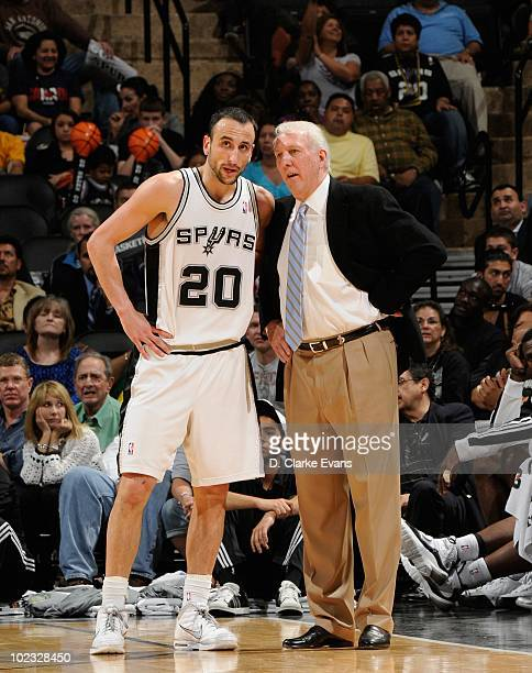 San Antonio Spurs head coach Gregg Popovich talks with Manu Ginobili during a game against the Memphis Grizzlies April 9 2010 at the ATT Center in...