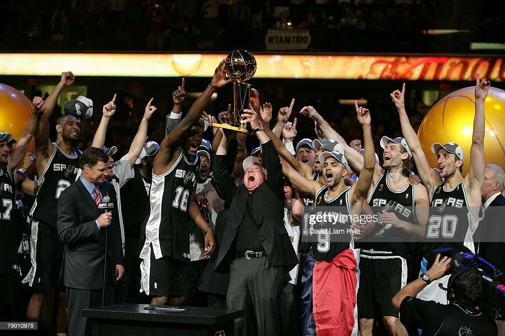 San Antonio Spurs owner Peter Holt celebrates with his team after defeating the Cleveland Cavaliers in Game Four of the NBA Finals at the Quicken Loans Arena on June 14, 2007 in Cleveland, Ohio.