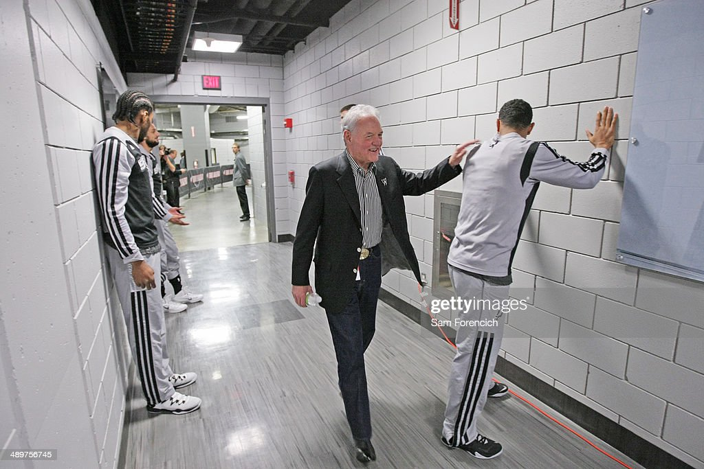 San Antonio Spurs owner, Peter Holt walks out before Game Three of the Western Conference Semifinals against the Portland Trail Blazers during the 2014 NBA Playoffs on May 10, 2014 at the Moda Center in Portland, Oregon.