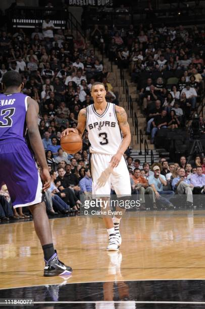 San Antonio Spurs point guard George Hill protects the ball during the game against the Sacramento Kings on April 6 2011 at ATT Center in San Antonio...