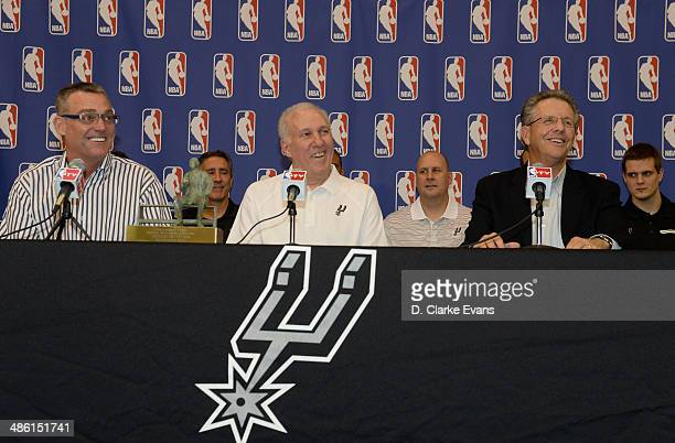 San Antonio Spurs R C Buford President of Spurs Franchises Gregg Popovich Head Coach and President of Spurs Basketball and Bill Land Spurs PlaybyPlay...