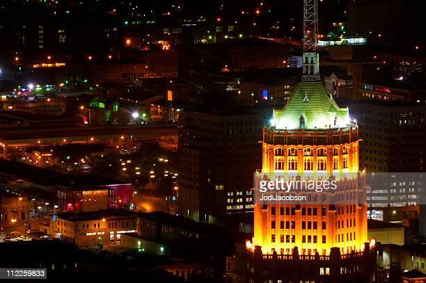 San Antonio, Texas, Vista aérea de la ciudad la noche