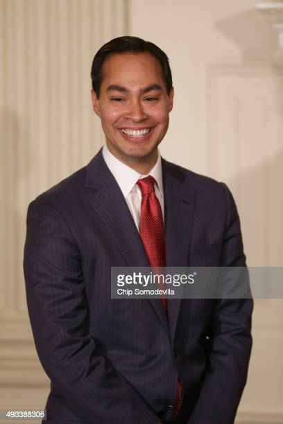 San Antonio Texas Mayor Julian Castro attends the announcement by US President Barack Obama that Castro has been nominated to lead the Department of...
