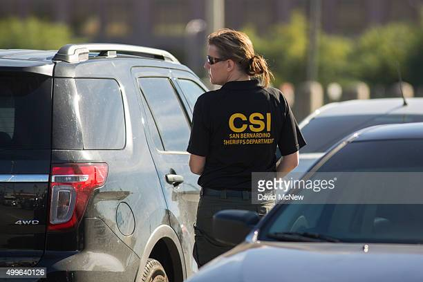 San Bernardino County Sheriffs Department investigator responds to a mass shooting at the Inland Regional Center December 2 2015 in San Bernardino...