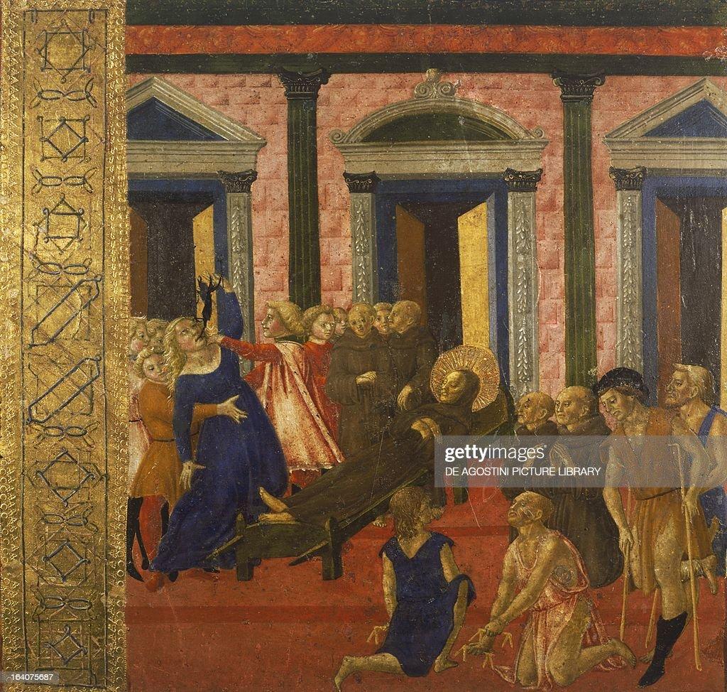 San Bernardino exorcises a possessed woman by Neroccio di Bartolomeo painting Palazzo Pubblico Siena Italy Siena Palazzo Pubblico