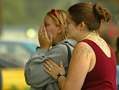 San Bernardino July 28 2003 –– Family members and friends who declined to identify themselves mourn the death of six people who died early Monday in...
