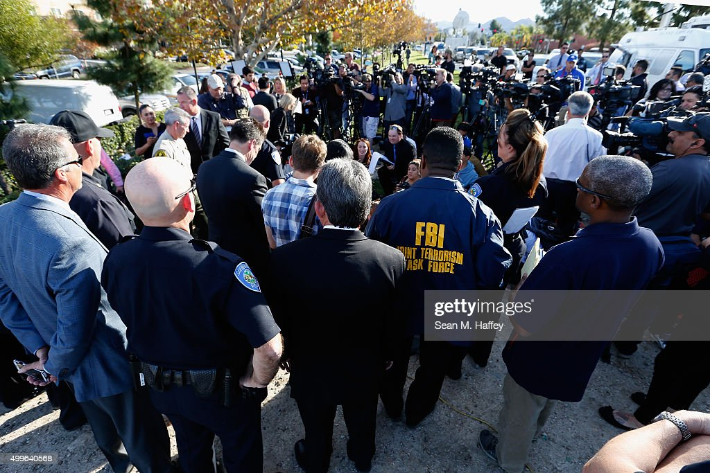 San Bernardino Police Chief Jarrod Burguan speaks with the media regarding the mass shooting that occurred at the Inland Regional Center on December...