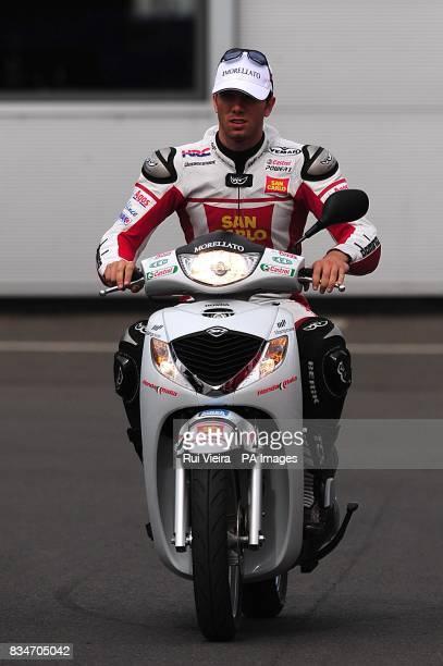 San Carlo Honda Gresini's Alex De Angelis arrives at Donington Park