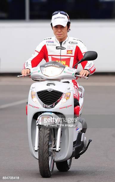 San Carlo Honda Gresini's Shinya Nakano arrives at Donington Park