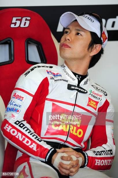 San Carlo Honda's Shinya Nakano in the pits before the bwincom British Motorcycle Grand Prix at Donington Park