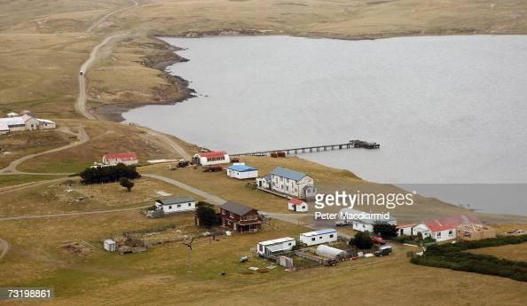 San Carlos settlement on February 3 2007 in San Carlos Falkland Islands