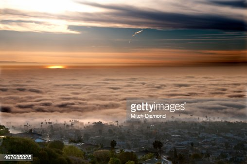 San Clemente homes on hills with fog