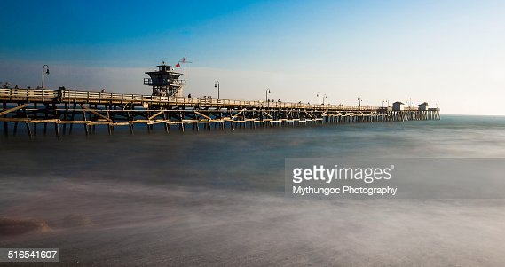 San Clemente Pier in high tide