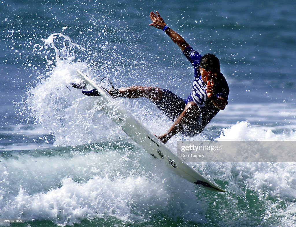 San Clemente––Pro surfer Fabio Gouveia catches some air during his round 4 heat today in which he won in the Association of Surfing Professionals...
