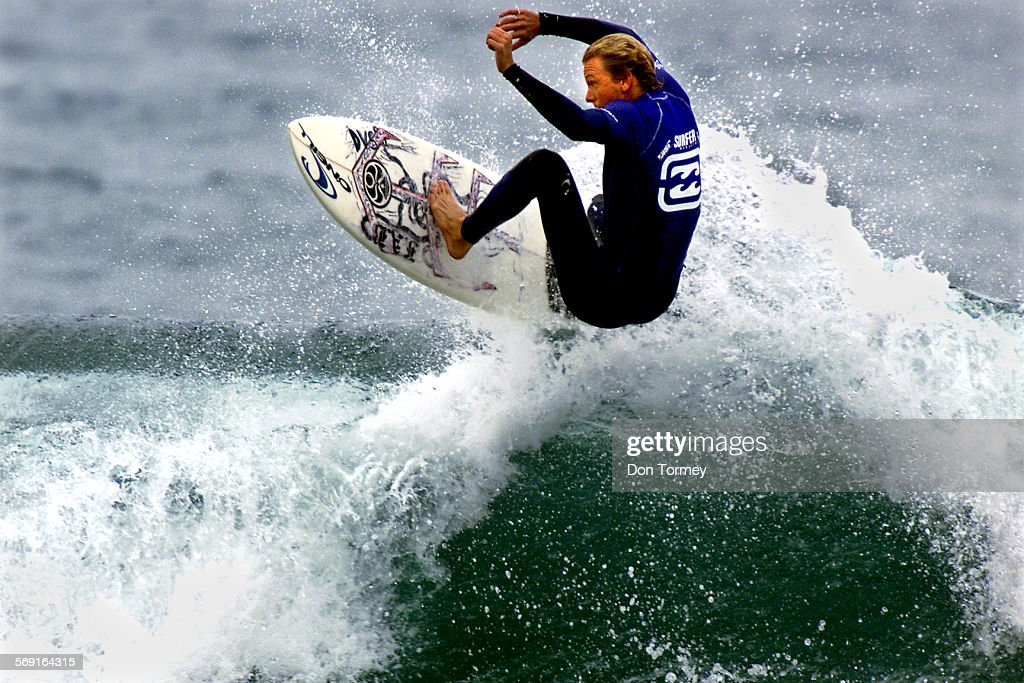 San Clemente––Pro surfer Shane Beschen gets some air on one of the few waves he chose to ride during his heat today against Jake Paterson in the...