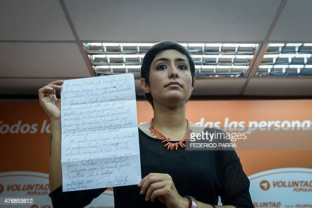 San Cristobal's Mayor Patricia de Ceballos wife of former San Cristobal's mayor Daniel Ceballos talks during press conference in Caracas on June 12...