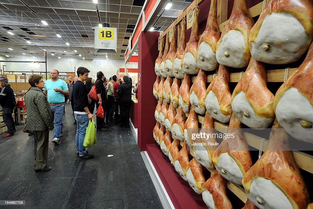 San Daniele hams are displayed on a stand at the Slow Food's Salone del Gusto and Terra Madre 2012 on October 29, 2012 in Turin, Italy.
