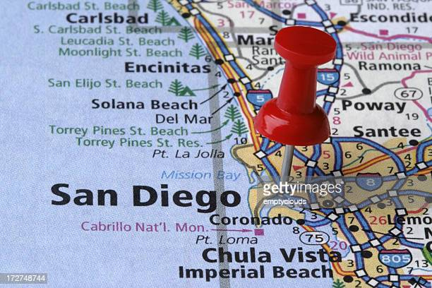 San Diego, California on a map.