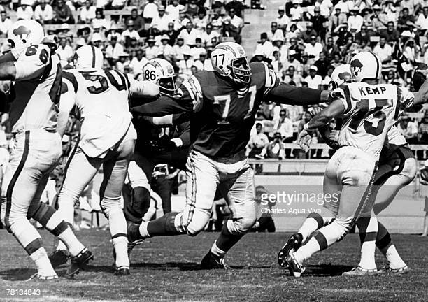 San Diego Chargers defensive tackle Ernie Ladd closes in on Buffalo Bills quarterback Jack Kemp during a 1410 Chargers victory on September 8 at...