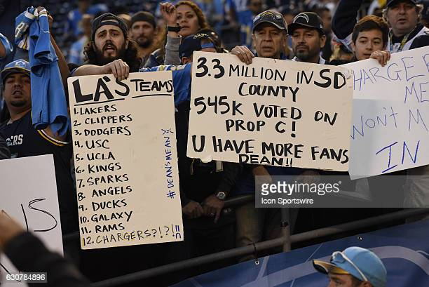 San Diego Chargers fans hoping the team stays in San Diego after the NFL Football game between the Kansas City Chiefs and the San Diego Chargers on...