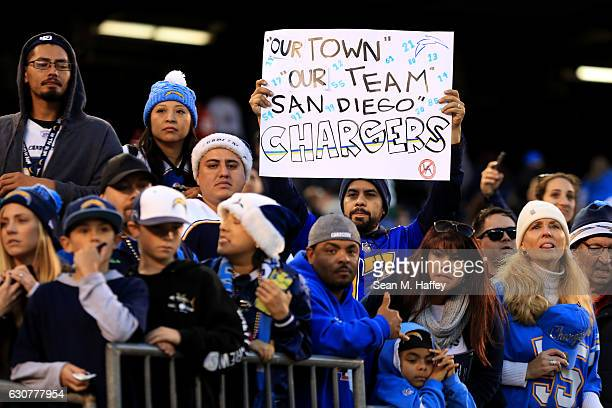 San Diego Chargers fans look on during the second half of a game against the Kansas City Chiefs at Qualcomm Stadium on January 1 2017 in San Diego...