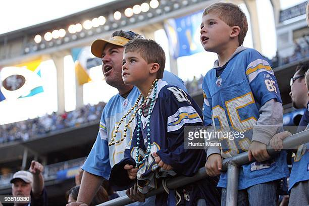 San Diego Chargers fans watch the play during a game against the Philadelphia Eagles on November 14 2009 at Qualcomm Stadium in San Diego California...