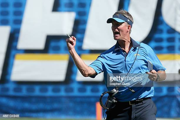 San Diego Chargers head coach Mike McCoy reacts while playing the Detroit Lions at Qualcomm Stadium on September 13 2015 in San Diego California