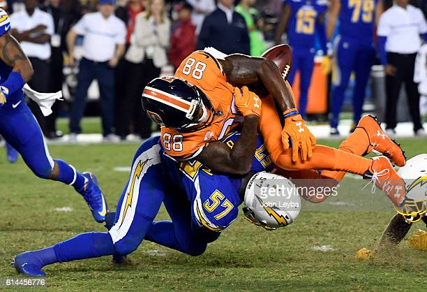 San Diego Chargers inside linebacker Jatavis Brown puts a big hit on Denver Broncos wide receiver Demaryius Thomas to jar the loose during the fourth...