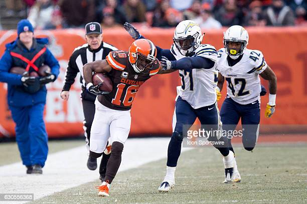 San Diego Chargers Linebacker Jatavis Brown forces Cleveland Browns Wide Receiver Andrew Hawkins out of bounds during the second quarter of the...