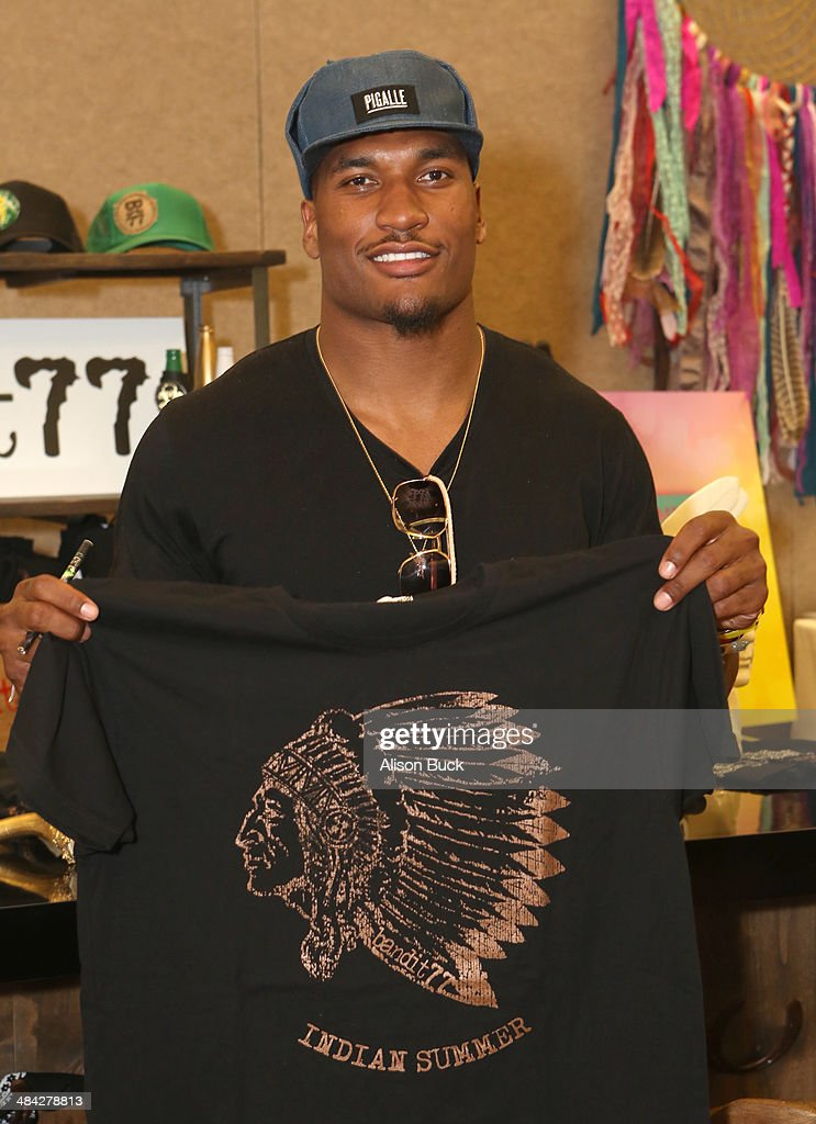 San Diego Chargers linebacker Larry English attends the Kari Feinstein Music Festival Style Lounge at La Quinta Resort and Club on April 11 2014 in...
