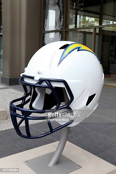 San Diego Chargers NFL football helmet is on display in Pioneer Court to commemorate the NFL Draft 2015 in Chicago on April 30 2015 in Chicago...