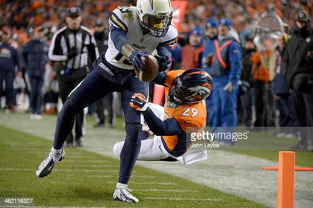 San Diego Chargers wide receiver Keenan Allen reaches out for the end zone for a touchdown pass Denver Broncos free safety Michael Huff during the...