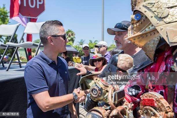 San Diego City Council member Chris Cate speaks with fans at the dedication of Mark Hamill Drive on July 30 2017 in San Diego California