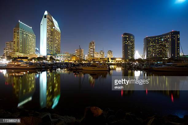 San Diego Embarcadero Marina under full moon