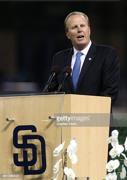 San Diego Mayor Kevin Faulconer speaks during a Memorial Tribute To Tony Gwynn by the San Diego Padres at PETCO Park on June 26 2014 in San Diego...