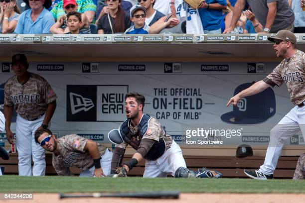 San Diego Padres Catcher Austin Hedges appeals the umpires decision during a game between the Los Angeles Dodgers and the San Diego Padres on...