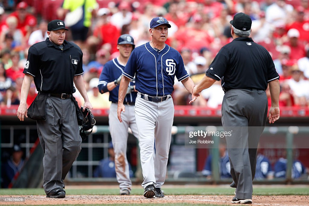 San Diego Padres manager Bud Black argues with umpires during the game against the Cincinnati Reds at Great American Ball Park on June 7 2015 in...