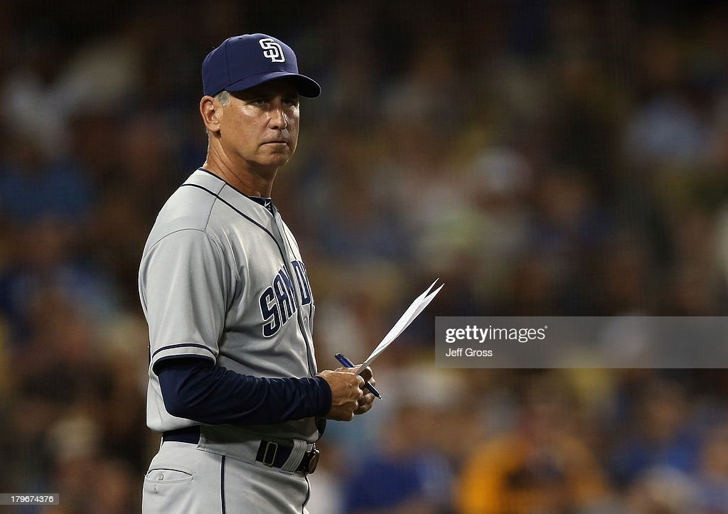 San Diego Padres manager Bud Black looks on against the Los Angeles Dodgers at Dodger Stadium on August 30 2013 in Los Angeles California