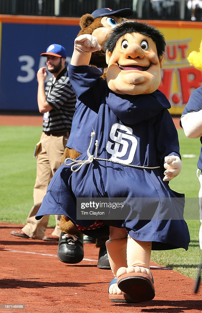 San Diego Padres Mascot, Friar, walks around during the 2013 SiriusXM All-Star Futures Game at Citi Field on July 14, 2013 in the Flushing neighborhood of the Queens borough of New York City.