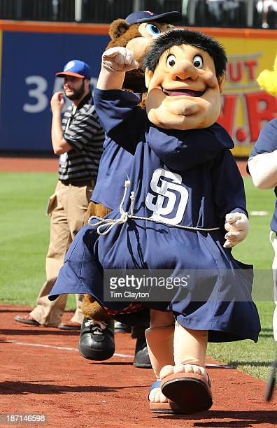 San Diego Padres Mascot Friar walks around during the 2013 SiriusXM AllStar Futures Game at Citi Field on July 14 2013 in the Flushing neighborhood...