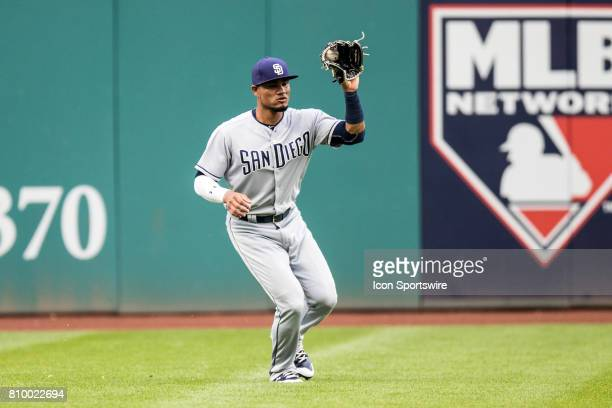 San Diego Padres outfielder Allen Cordoba plays the ball on the hop during the third inning of the Major League Baseball Interleague game between the...